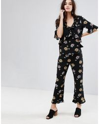Fashion Union - Pants With Frill Hem In Floral Co-ord - Lyst