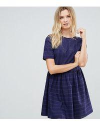 ASOS | Mini Smock Dress In Broderie | Lyst