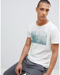 SELECTED - T-shirt With Raw Hem And Washed Graphic - Lyst