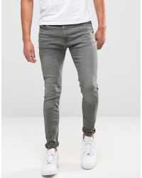 Jack & Jones - Intelligence Skinny Jeans In Washed Grey - Lyst