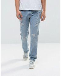 Hollister - Jeans Slim Fit Destroyed Light Wash - Lyst
