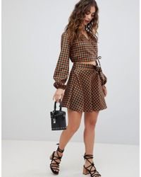 Glamorous - Wrap Mini Skirt In Check Two-piece - Lyst
