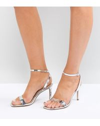9267d477d91a ASOS - Wide Fit Half Time Barely There Heeled Sandals - Lyst