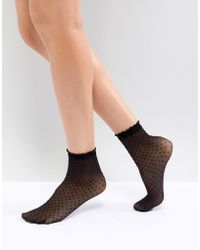 Pieces - Spotty Ankle Socks - Lyst