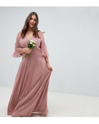 9ab85afb85348 ASOS - Asos Design Curve Pleated Paneled Flutter Sleeve Maxi Dress With Lace  Inserts - Lyst