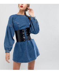 Retro Luxe London - Wide Leather Corset Belt With Eyelet Lace Up - Lyst