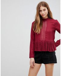 First & I - Lace Panel Peplum Top - Lyst