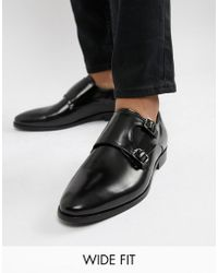 Dune - Wide Fit Monk Shoes In Black Hi-shine Leather - Lyst