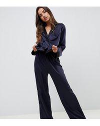 ASOS - Contrast Satin Pyjama Trouser - Lyst