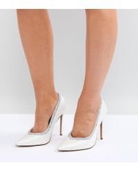 ASOS - Wide Fit Phoenix Bridal High Heeled Court Shoes In Ivory - Lyst