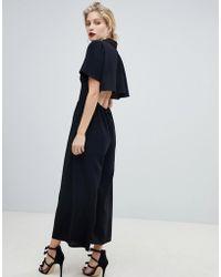 a62e0012738 ASOS Asos Design Curve Shirt Tea Jumpsuit With Open Back in Black - Lyst