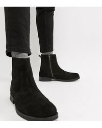 ASOS - Asos Chelsea Boots In Black Suede With Faux Shearling Lining - Lyst