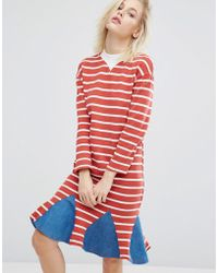 I Love Friday - Stripe Dress With Denim Insert Hem - Lyst