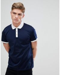 Ted Baker - Contrast Collar Polo In Navy - Lyst