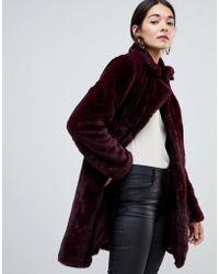 Vila - Faux Fur Coat - Lyst