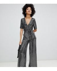 New Look - Wrap Jumpsuit In Silver Glitter - Lyst