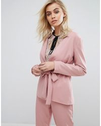 Fashion Union - Blazer With Tie Front Co-ord - Lyst