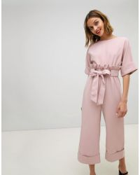 Lost Ink - Wide Leg Jumpsuit With Tie Waist And Frill Detail - Lyst