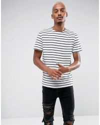 Pull&Bear - T-shirt With Striped Detail In Navy Blue - Lyst