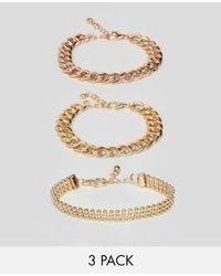 ASOS - Design Pack Of 3 Bracelets In Mixed Size Chain Design - Lyst
