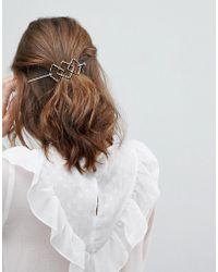 Orelia - Triple Diamond Thread Through Hair Clip - Lyst
