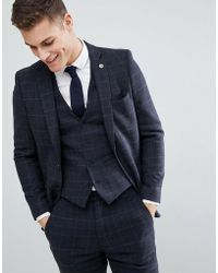 French Connection - Brushed Flannel Slim Fit Tobacco Check Suit Jacket - Lyst