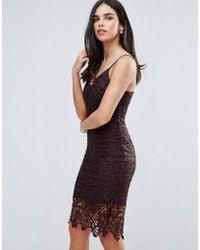 AX Paris - Lace Midi Bodycon Dress - Lyst