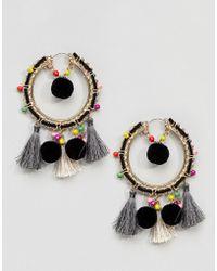 ASOS - Design Colourful Bead And Pom Tassel Hoop Earrings - Lyst
