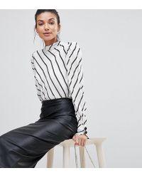 ASOS - Asos Design Tall Sculpt Me Leather Look Midi Skirt - Lyst