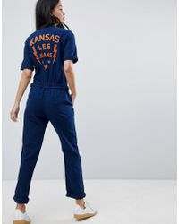 Lee Jeans - Denim Zip Through Jumpsuit With Embroidered Detail - Lyst