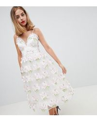 ASOS - Asos Design Petite Salon 3d Floral Cami Prom Midi Dress - Lyst