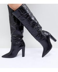 6bb64044c ALDO Wide Fit Knee High Boots in Black - Lyst