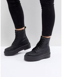 ASOS - Attitude Wide Fit Chunky Lace Up Boots - Lyst