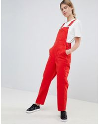 ASOS - Design Denim Dungaree In Red - Lyst