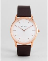 Paul Smith - Ps0100002 Slim Leather Watch In Black 40mm - Lyst