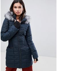 Y.A.S - Gathered Waist Parka With Faux Fur Trim Hood - Lyst