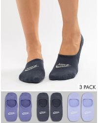 Nike - 3 Pack Blue No Show Socks In Blue - Lyst
