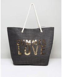 South Beach - Paper Straw Summer Love Beach Bag - Lyst