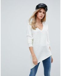 First & I - Asymmetric V Neck Sweater - Lyst