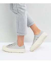 Converse - Chuck Taylor All Star Lift Ripple Ox Trainers In Pale Grey - Lyst
