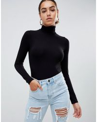 ASOS - Turtle Neck Long Sleeve Body In Black - Lyst