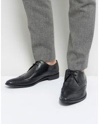 Frank Wright - Wing Tip Brogue Shoes In Black Leather - Lyst