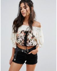 Band Of Gypsies - Off Shoulder Printed Festival Top - Lyst