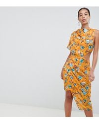 ASOS - Asos Design Tall Midi Dress In Printed Jacquard With Open Back - Lyst