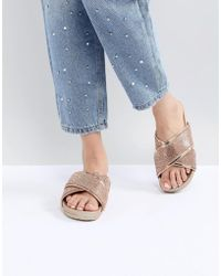 Public Desire - Envy Rose Gold Glitter Cross Front Sandals - Lyst