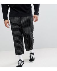 Reclaimed (vintage) - Inspired Relaxed Cropped Trouser In Stripe - Lyst