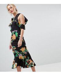 ASOS - Asos Design Tall Floral Scuba Ruffle Cold Shoulder Pephem Midi Dress - Lyst