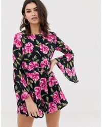 969c1894c38 Girl In Mind Floral Wrap Long Sleeve Playsuit in Pink - Lyst