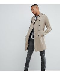 ASOS - Tall Shower Resistant Trench Coat In Stone - Lyst