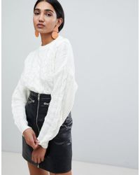Warehouse - Cable Knit Jumper In Ivory - Lyst